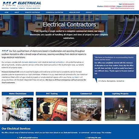 Web Design Southampton - example of a web design for MLC Electrical Contractors