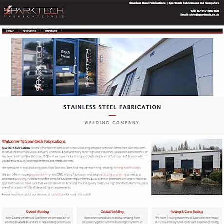 Web Design Fareham - example of a web design for Sparktech
