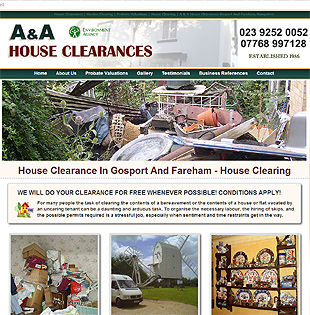 Gosport website designer Gethyn Jones built this website for A&A House Clearance