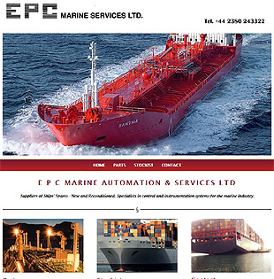 Web design Southampton - Gethyn Jones with a design for EPC Marine